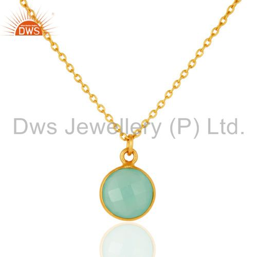 """18K Gold Plated Faceted Dyed Blue Chalcedony Bezel-Set Pendant With 16"""" In Chain"""