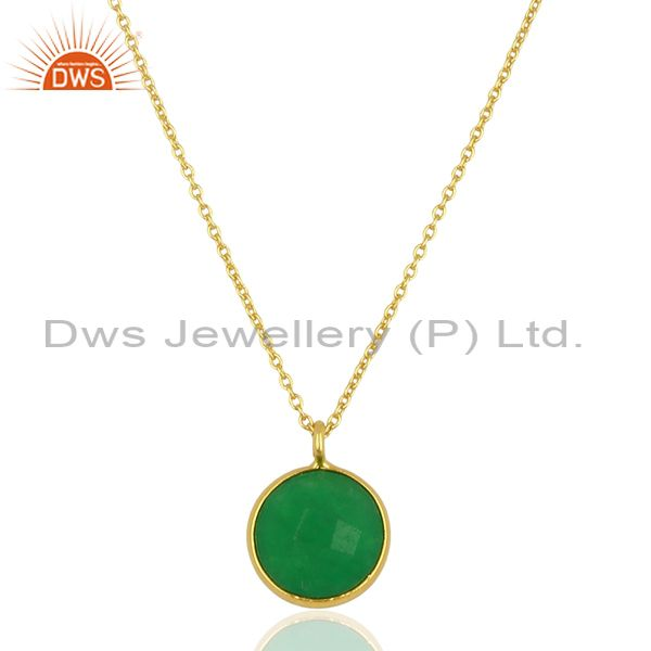Natural Green Aventurine 18K Gold Plated 925 Sterling Silver Chain Pendant