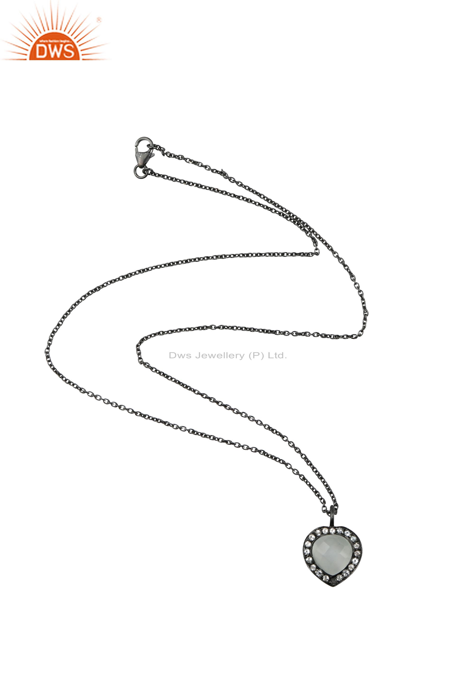 Oxidized Sterling Silver White Moonstone & White Topaz Heart Pendant With Chain