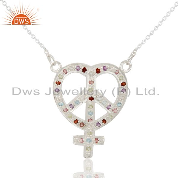 925 Sterling Silver Multi Color Gemstone Peace And Ankh Sign Necklace