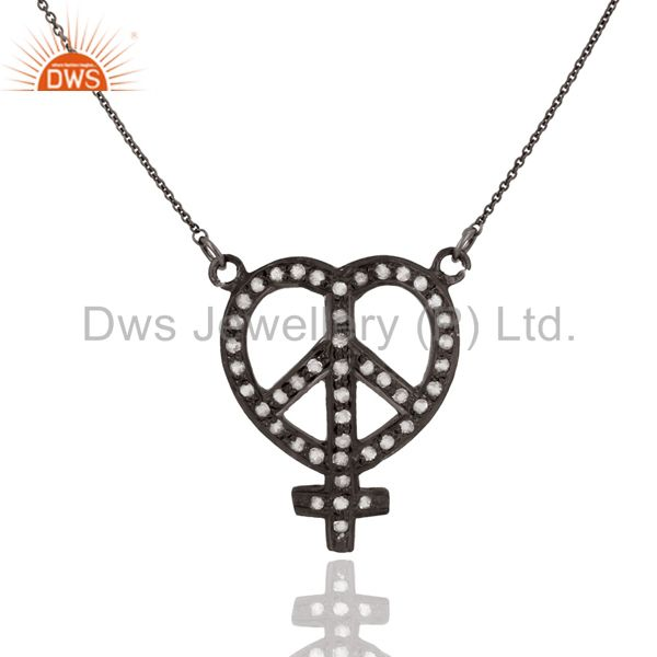 Rhodium Plated Sterling Silver White Topaz Heart, Ankh & Peace Sign Necklace