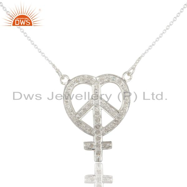 925 Sterling Silver White Topaz Gemstone Peace Sign Pendant Necklace