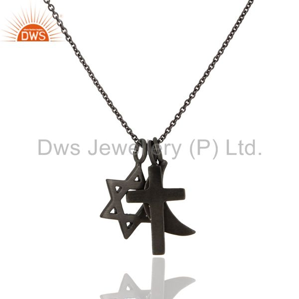 Black Rhodium Plated Sterling Silver Cross, Half Moon And Star Charms Necklace