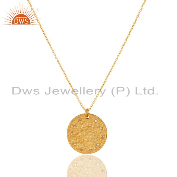 14K Yellow Gold Plated 925 Sterling Silver White Topaz Chain Pendant Necklace