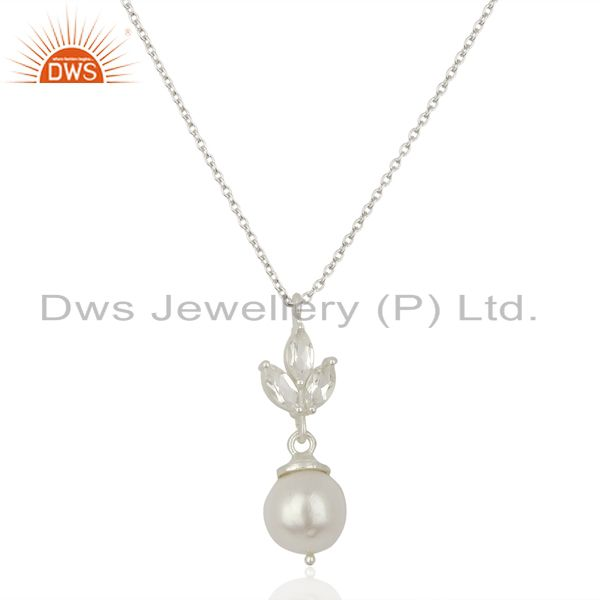 Crystal Quartz Pearl Gold Plated Sterling Silver Chain Pendant Necklace Jewelry
