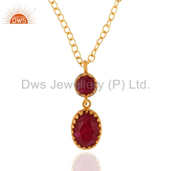 New 24K Gold Plated Dyed Ruby Gemstone Birthstone Pendant Jewelry Chain Necklac