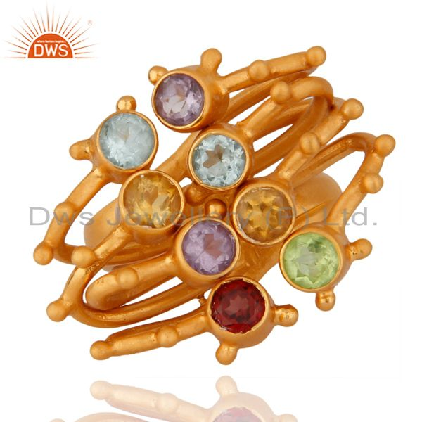 18K Yellow Gold Plated Sterling Silver Multi Colored Gemstone Designer Ring
