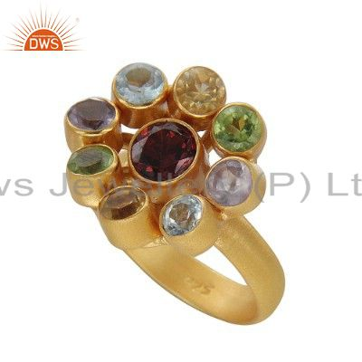 Multi Colored Gemstone Cocktail Ring Made In 18K Gold Over Sterling Silver