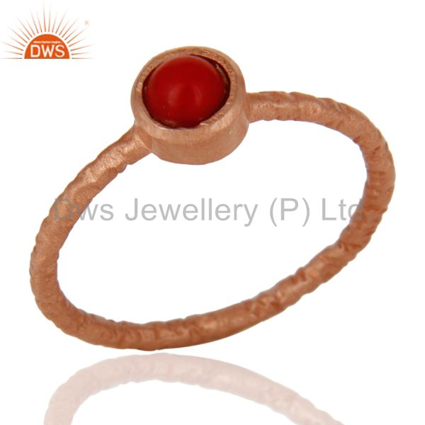 18K Rose Gold Plated 925 Sterling Silver Red Coral Gemstone Stackable Ring