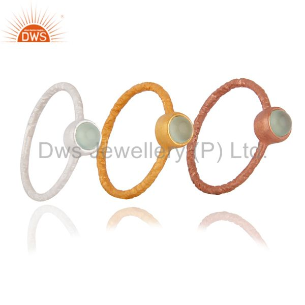 18K Gold Plated Sterling Silver Green Chalcedony Gemstone Stack Ring 3 Pcs Set