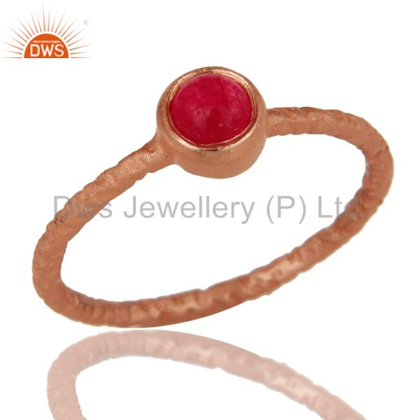 Natural Pink Chalcedony 18K Rose Gold Plated Sterling Silver Hand Hammered Ring