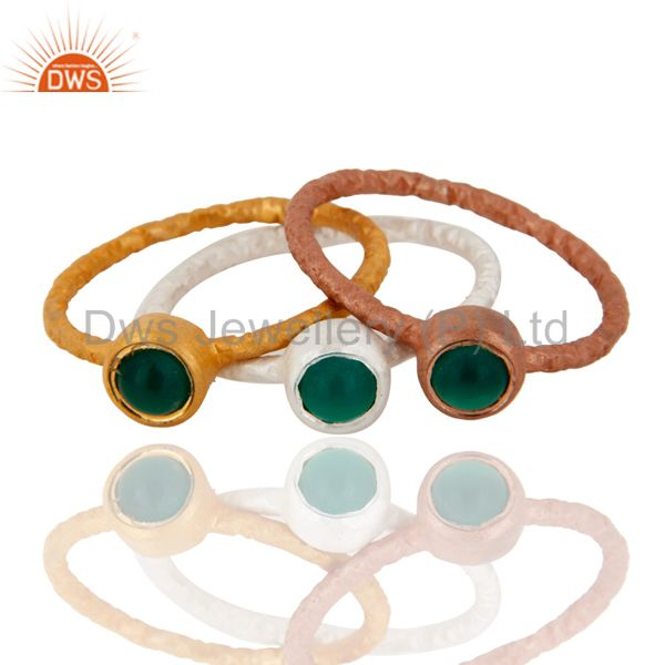 Sterling Silver And 18K Gold Yellow Plated Green Onyx Stackable Ring 3 Pcs Set