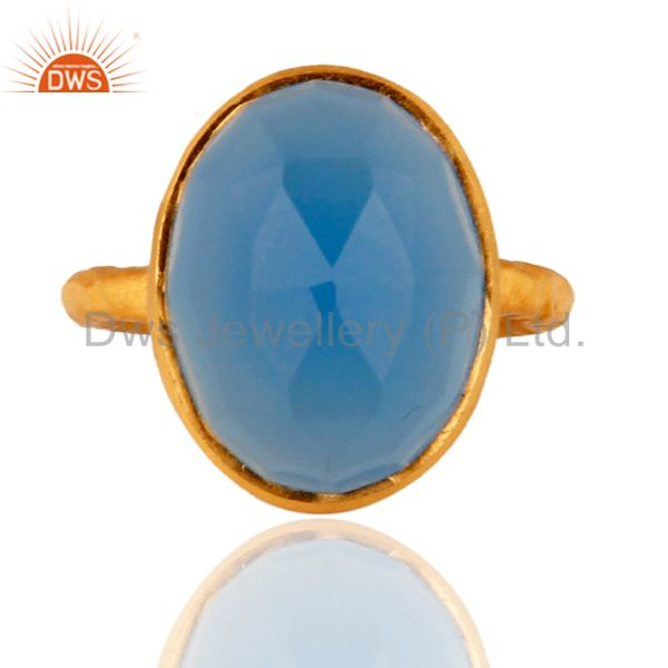 Sterling Silver Blue Chalcedony Natural Gemstone Handmade Ring - Gold Plated