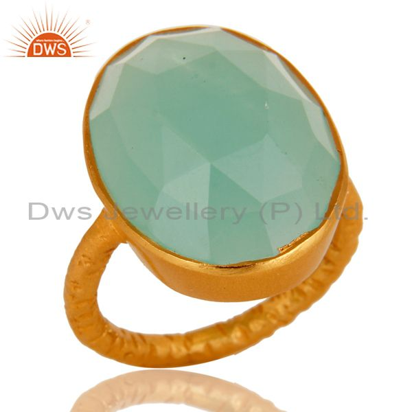 18K Yellow Gold Over Sterling Silver Aqua Blue Chalcedony Stacking Ring