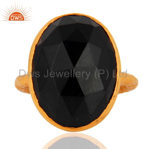 18K Yellow Gold Plated Sterling Silver Black Onyx Bezel Set Ring