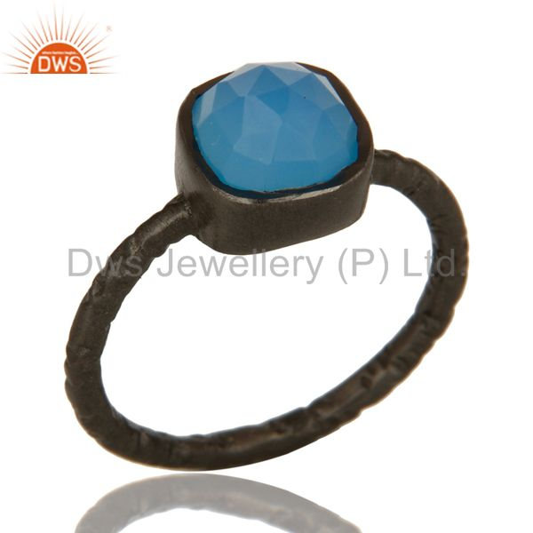 Black Rhodium Plated Sterling Silver Aqua Blue Chalcedony Stacking Ring