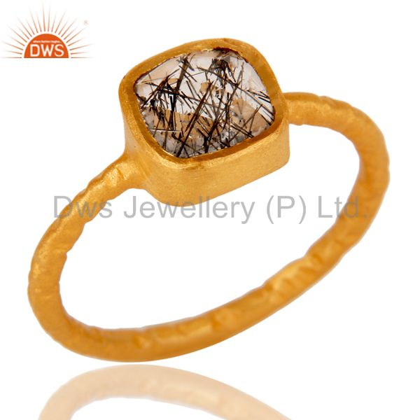 18K Yellow Gold Over Sterling Silver Black Rutile Stacking Ring
