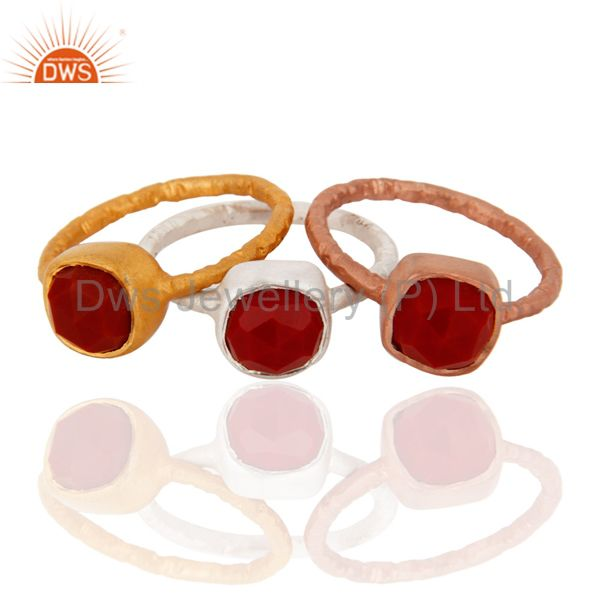 18K Gold Over Sterling Silver Red Coral Gemstone Stacking Ring 3 Pcs Set