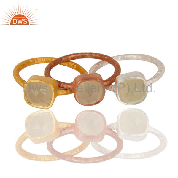 14K Gold, Rose & Silver Plated Handmade Dyed Chalcedony 3 Set Stackable Ring