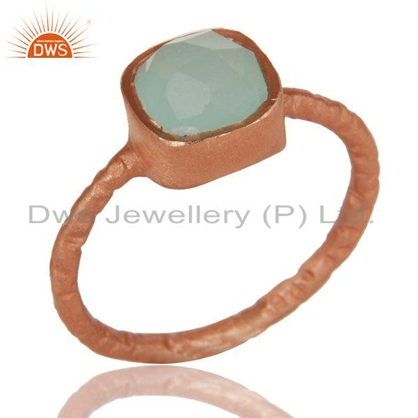 Dyed Aqua Blue Chalcedony Gemstone 18K Rose Gold Plated Sterling Silver Stacking