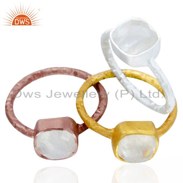 14K Gold Plated Sterling Silver Rainbow Moonstone Bezel Set Stacking Ring