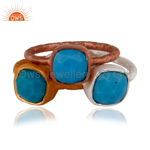 18K Gold Over Sterling Silver Turquoise Gemstone Stacking Ring 3 Pcs Set