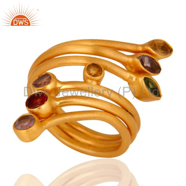Handmade Sterling Silver Multi Color Gemstone Women Ring With 18K Gold Plated