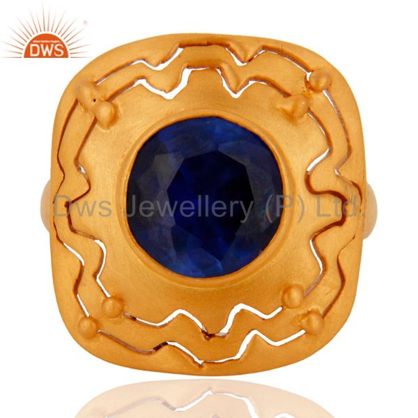 18K Yellow Gold Plated Sterling Silver Blue Corundum Cocktail Ring