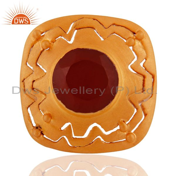 18K Yellow Gold Plated Sterling Silver Red Onyx Gemstone Designer Cocktail Ring