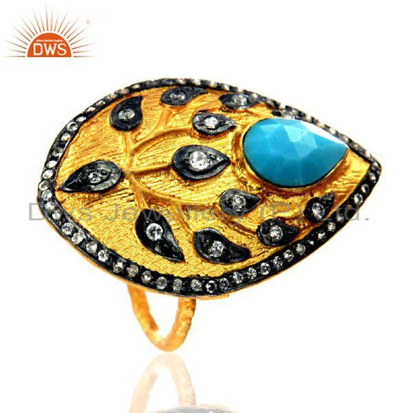 18K Yellow Gold Plated Brass Turquoise And CZ Leaf Design Statement Ring