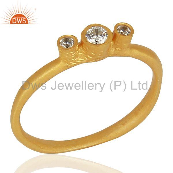 925 Silver Yellow Gold Plated White Zircon Gemstone Ring Jewelry