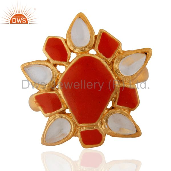 Natural Crystal Quartz Lovely Inlay Ring Indian Handmade Gold Plated Jewelry