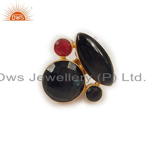 Handmade Red Aventurine And Black Onyx Cocktail Ring In 22K Gold Over Brass