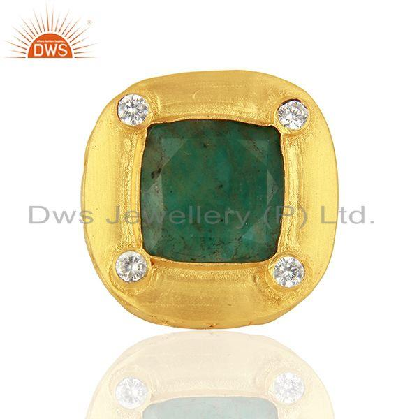 CZ Amazonite Gemstone Gold Plated Stud Ring Jewelry Supplier