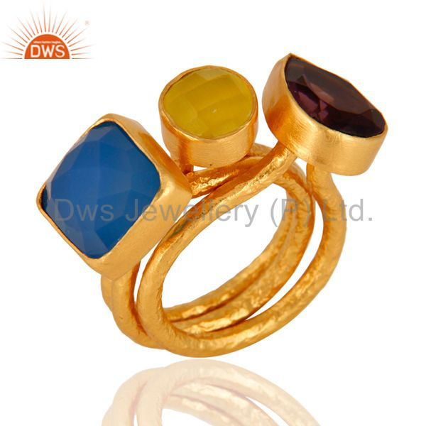 Hydro Amethyst And Aqua Blue CHalcedony 24K Gold Plated Ring 3 Pcs Set
