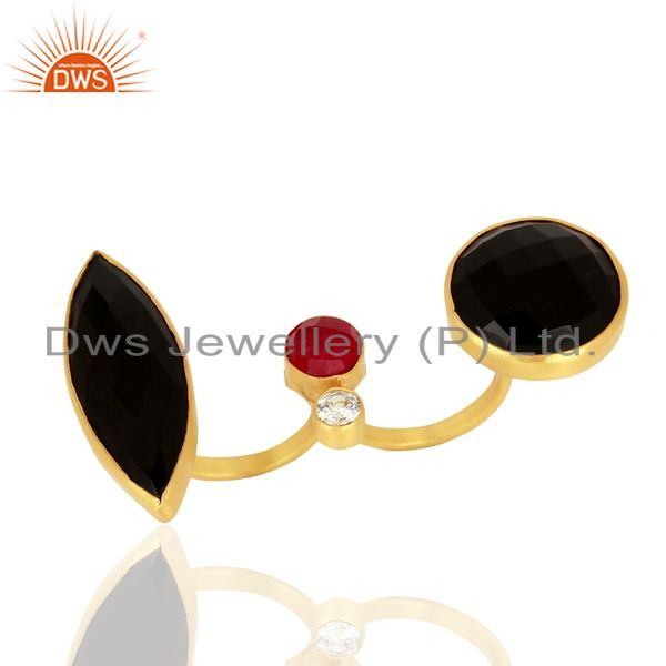 24K Yellow Gold Plated Brass Red Aventurine And Black Onyx Two Finger Ring