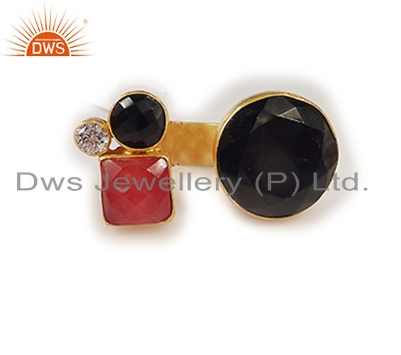 22K Yellow Gold Plated Brass Red Aventurine And Black Onyx Designer Open Ring