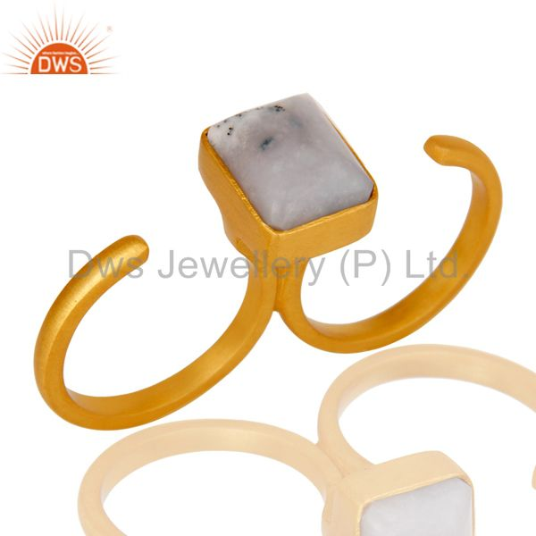 18K Yellow Gold Plated Brass Dendritic Opal Two Finger Open Ring