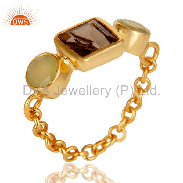 Designer 22K Gold Plated Sterling Silver Chain Link Ring With Smoky Quartz