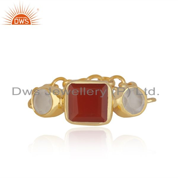 22k Gold-Plated Sterling Silver Carnelian & Chalcedony Gemstone Chain Ring
