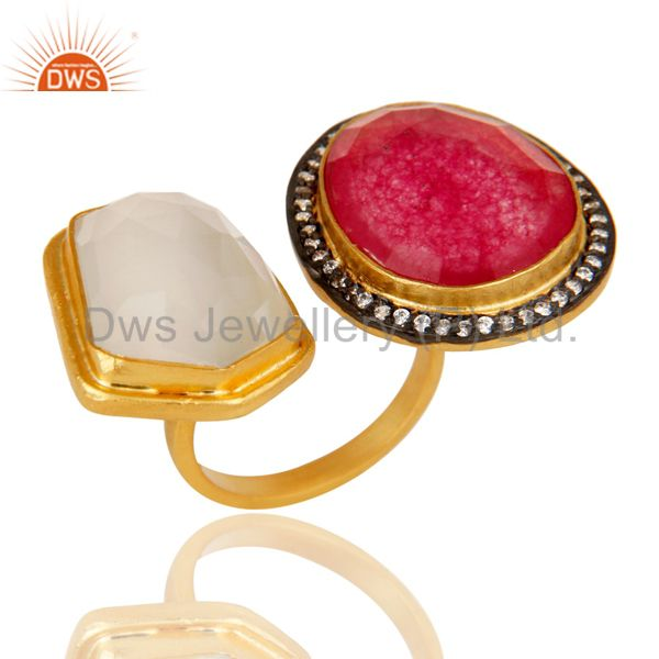 18K Yellow Gold Plated Brass White Moonstone And Red Aventurine Fashion Ring