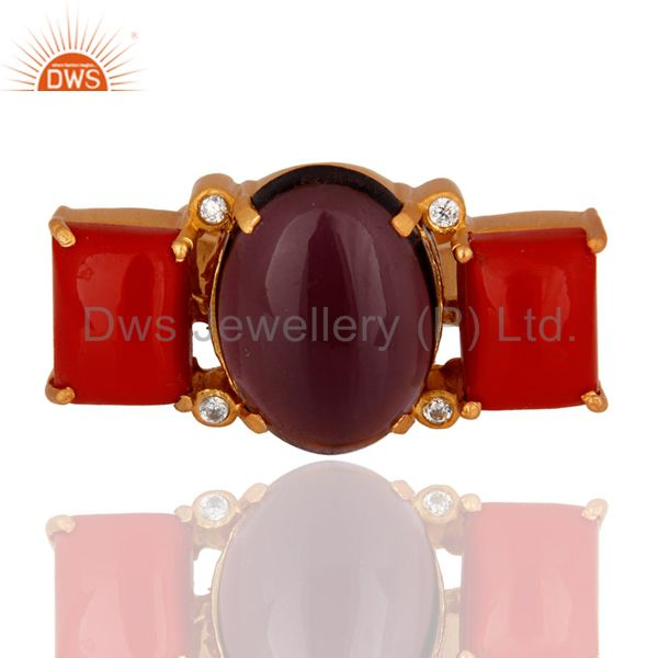 Handmade Red Coral And Hydro Amethyst Gold Plated Ring With CZ
