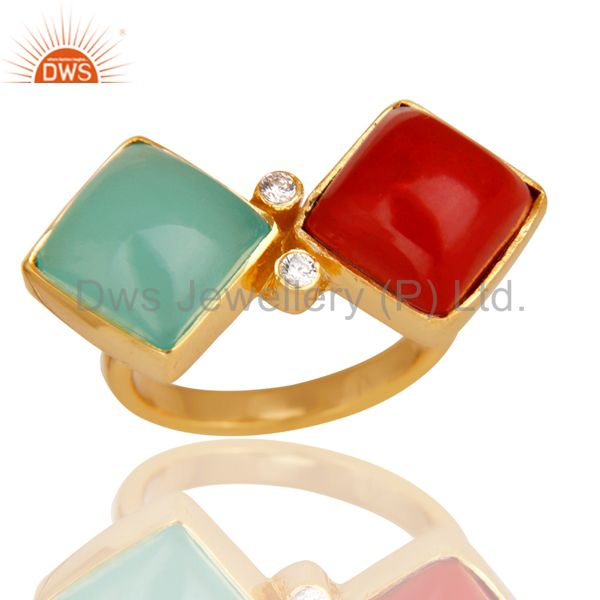 Red Coral, Aqua & White Zirconia Ring Made In 14K Gold Plated 925 Silver