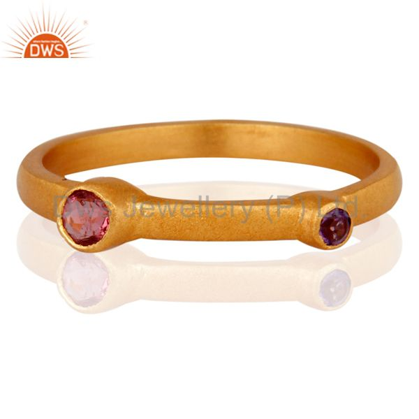 14K Yellow Gold Plated Sterling Silver Pink Corundum And Amethyst Stacking Ring
