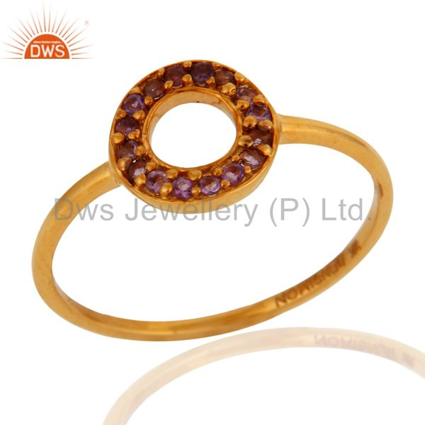 9K Solid Yellow Gold Pave Set Amethyst Gemstone Open Circle Ring
