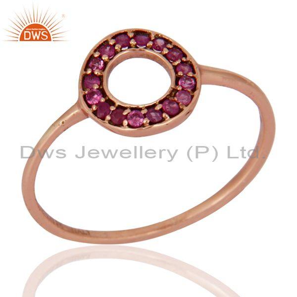 Solid 9K Rose Gold 0.16 Carat Round Pink Sapphire Gemstone Solitaire Womens Ring