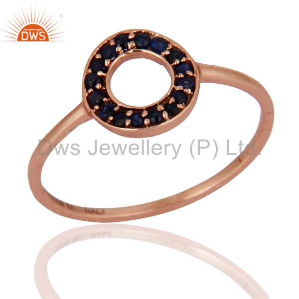 0.18ct Blue Sapphire 9k 9ct Solid Rose Gold Designer Engagement Solitaire Ring 8