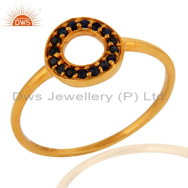 9K Solid Yellow Gold Pave Set Blue Sapphire Open Circle Stacking Ring