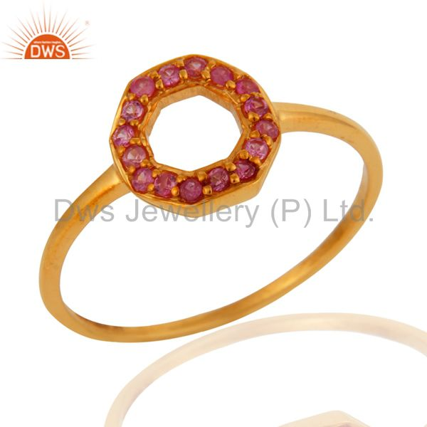 9K Yellow Gold Natural Pink Sapphire Womens Band Ring Size 5 to 12 Available