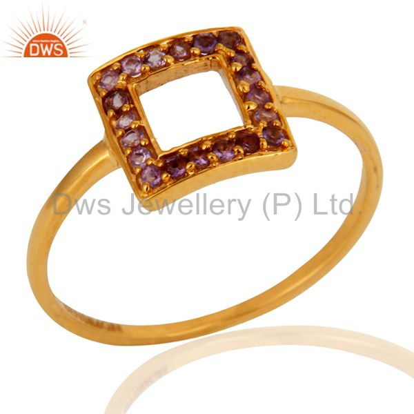Solid 9K Yellow Gold Natural Amethyst Gemstone Square Stackable Ring
